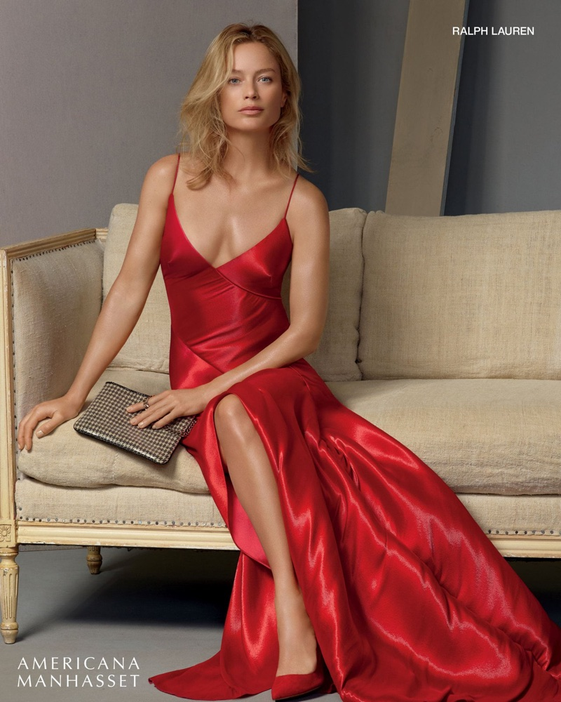 Carolyn Murphy models red Ralph Lauren dress in Americana Manhasset's holiday 2017 campaign