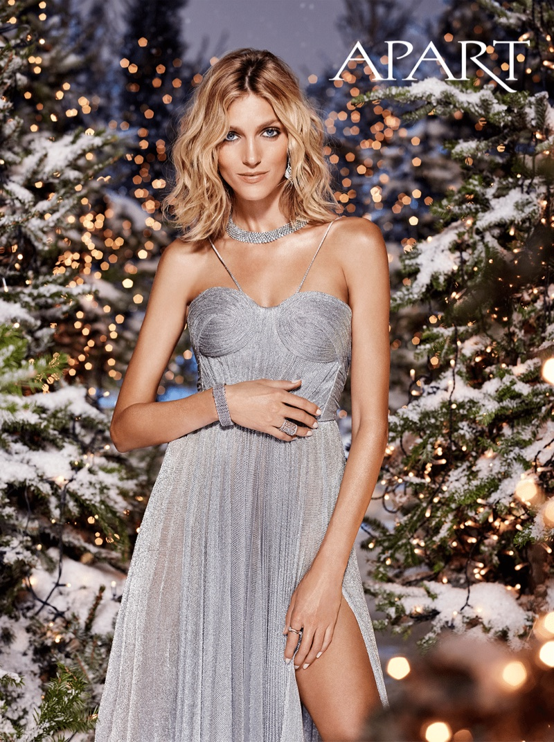 Anja Rubik glitters in silver gown for Apart's Christmas 2017 campaign