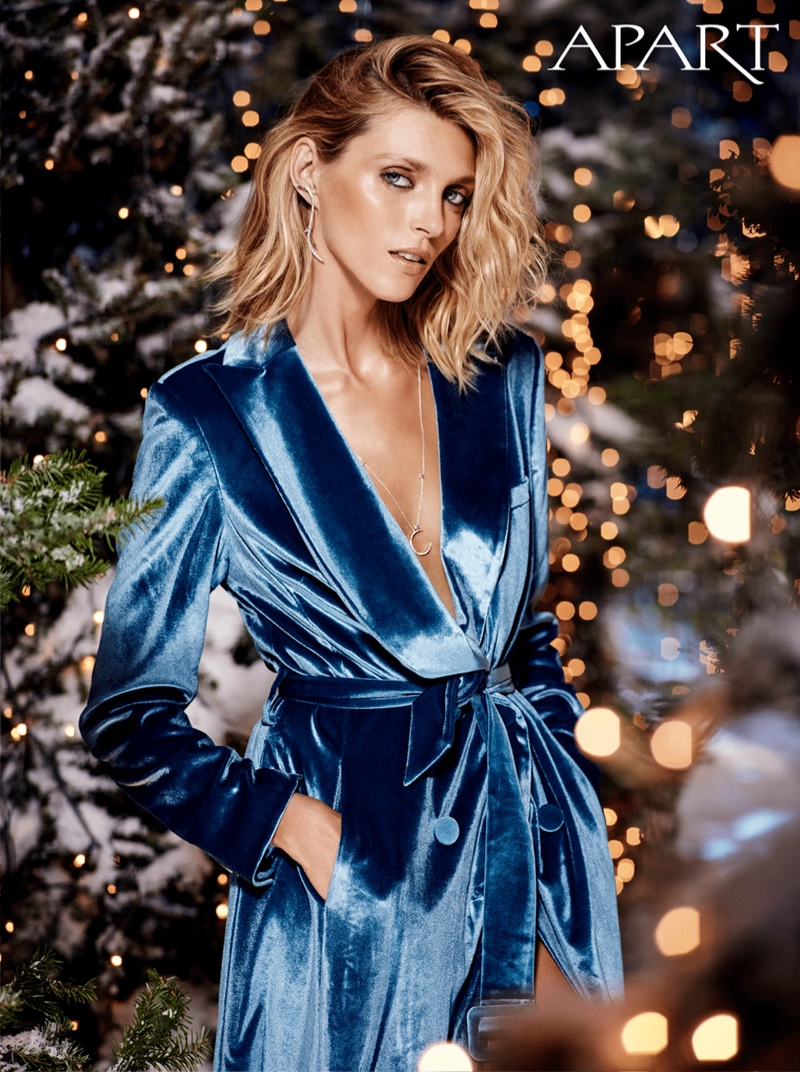 Dressed in velvet, Anja Rubik fronts Apart's Christmas 2017 campaign