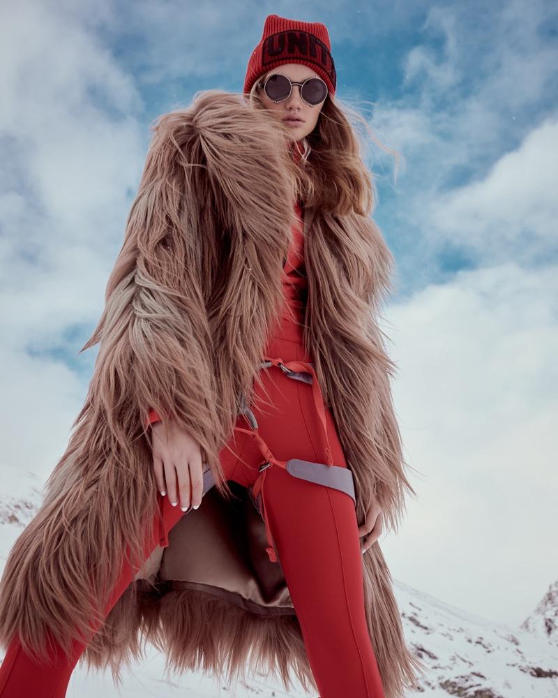 Anna Konecna Has a Stylish Snow Day in Harper's Bazaar Czech