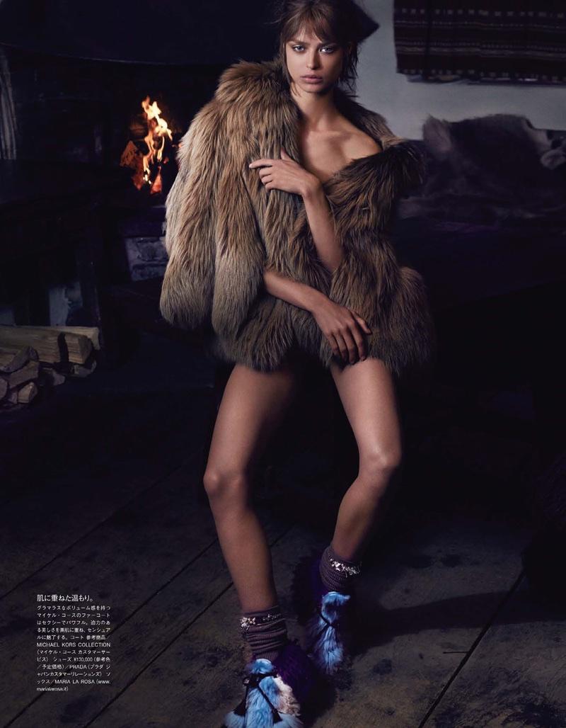 Birgit Kos Models Winter Outerwear for Vogue Japan