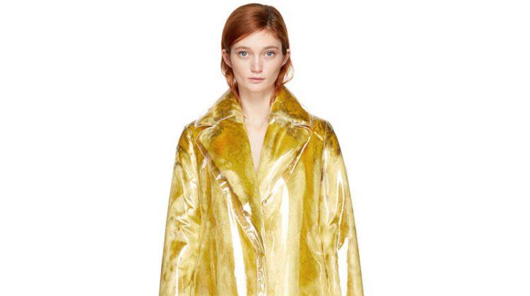 Calvin Klein 205W39NYC Yellow Plastic Faux-Fur Coat $1998 (previously $3995)