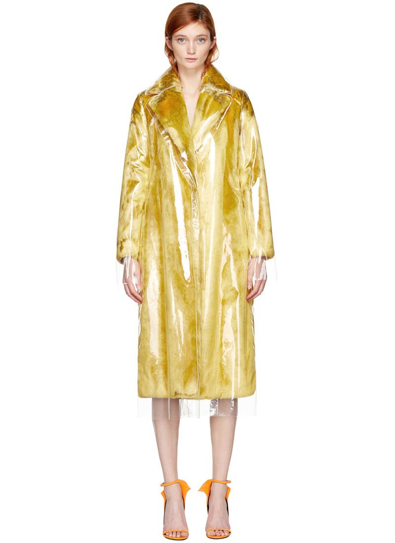 Calvin Klein 205W39NYC Yellow Plastic Faux-Fur Coat $1998 (previously $3995)