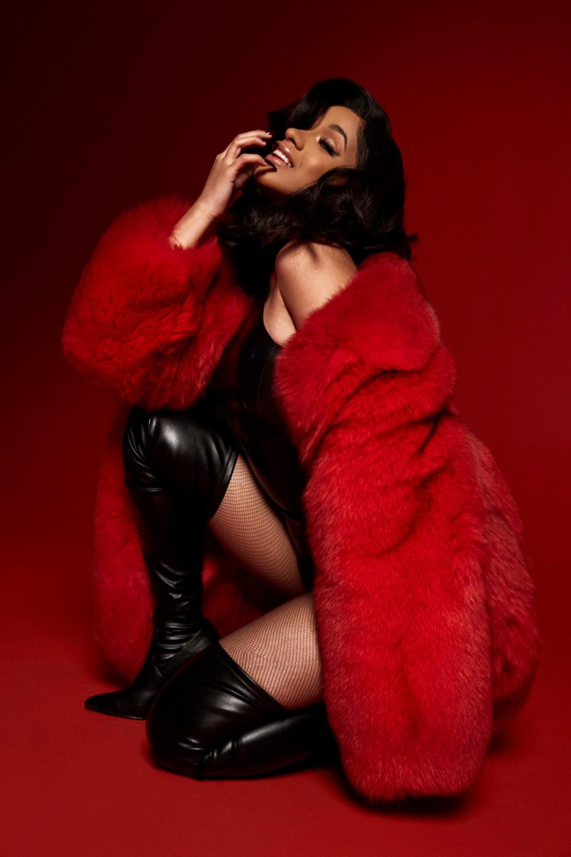 Cardi B poses in Steve Madden Dominique boots