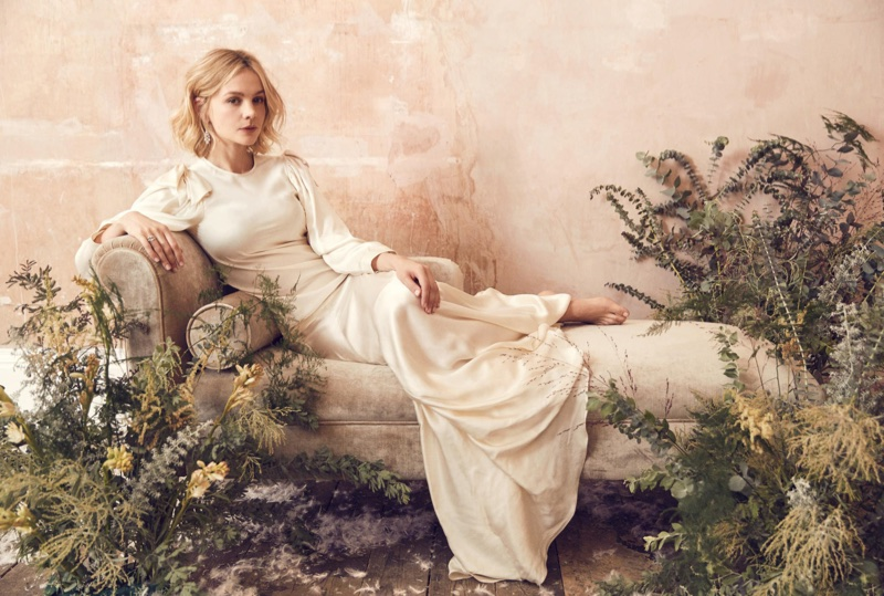 Lounging, Carey Mulligan wears Simone Rocha dress with De Beers jewelry