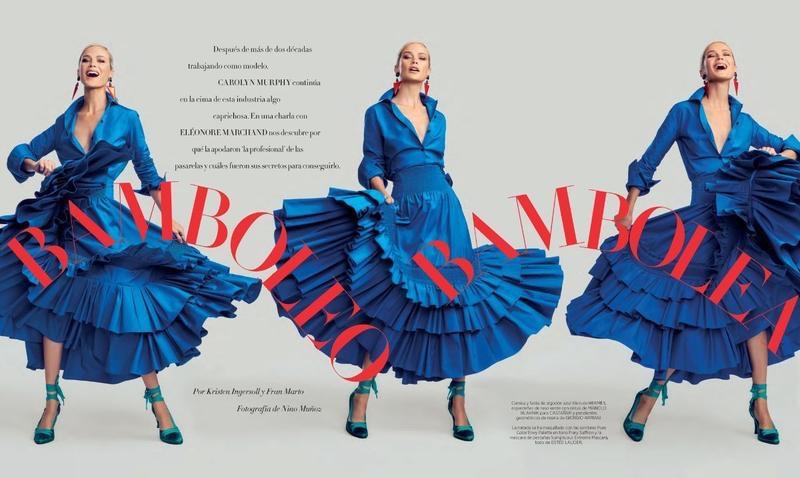 Carolyn Murphy Poses in Ladylike Fashions for Harper's Bazaar Spain