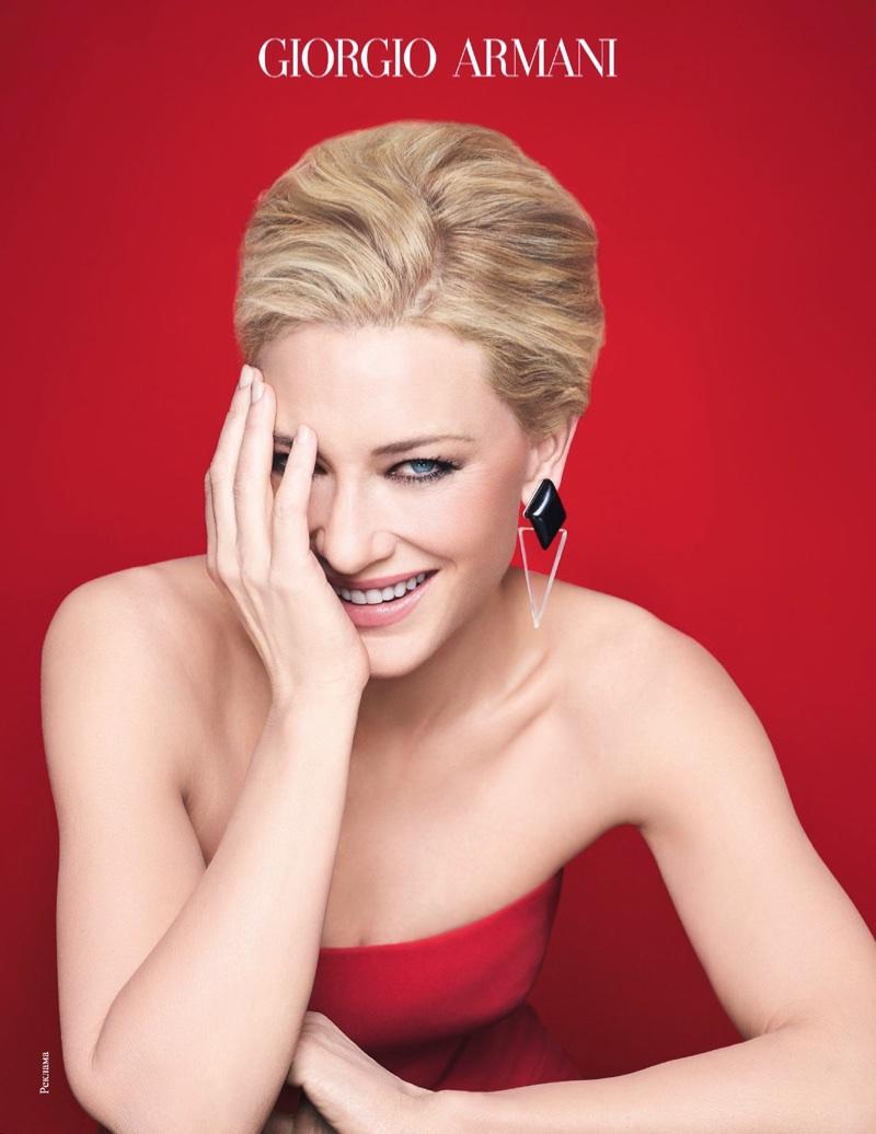 Cate Blanchett flashes a smile in Giorgio Armani Sì campaign