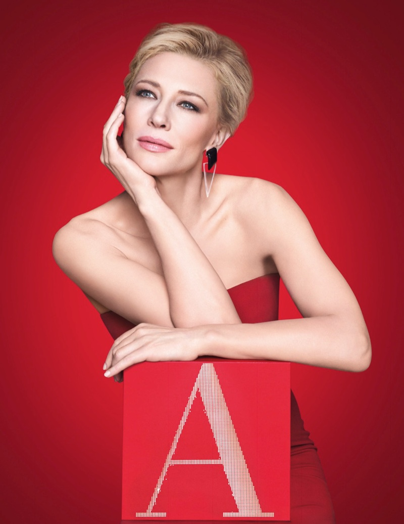 Actress Cate Blanchett looks radiant in a red dress for Giorgio Armani Sì campaign