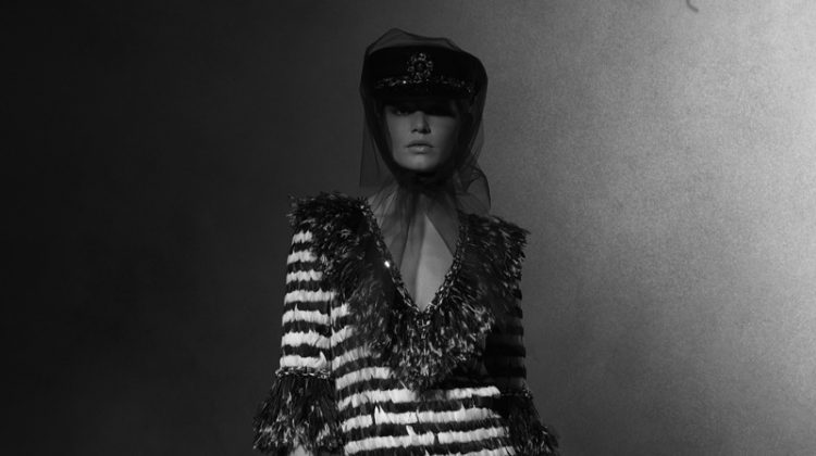 Chanel features striped, fringed dress in pre-fall 2018 Paris-Hamburg collection