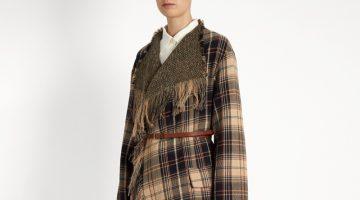Chloe Fringed Wool Cotton-Blend Tartan Coat $1,038 (previously $2,595)