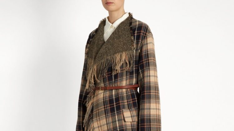 Chloe Fringed Wool Cotton-Blend Tartan Coat $1,038 (previously $2,595)