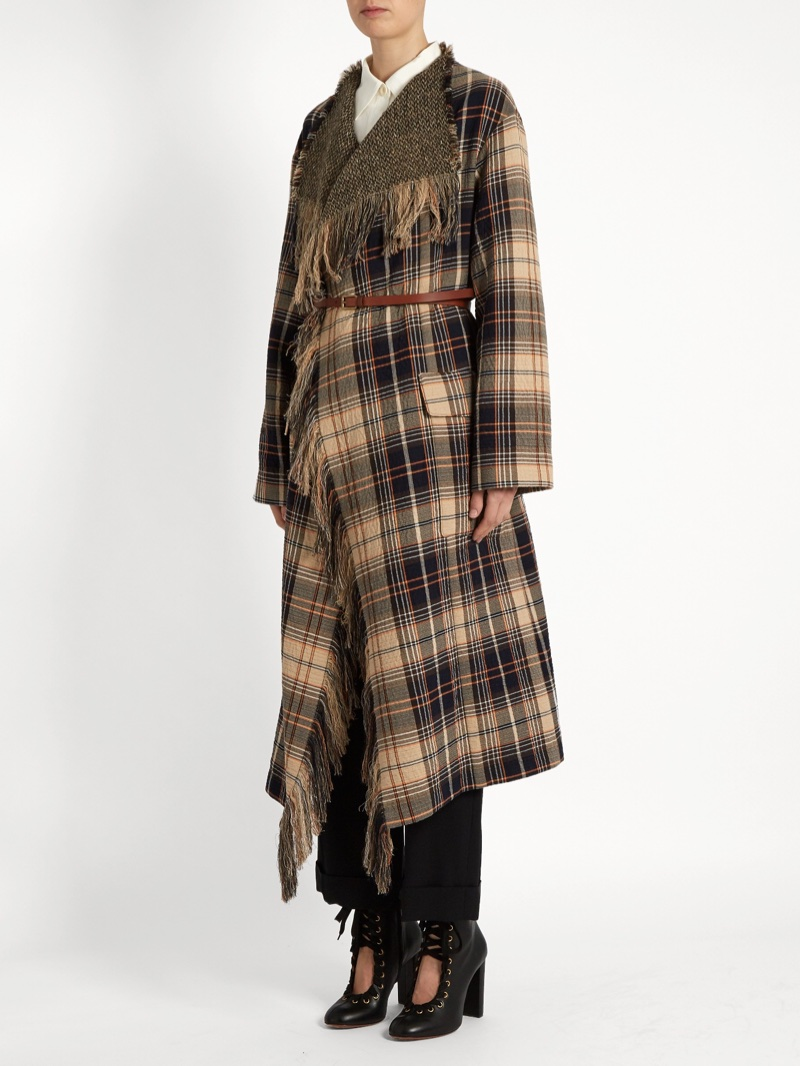 Chloe Fringed Wool and Cotton-Blend Tartan Coat $1,038 (previously $2,595)