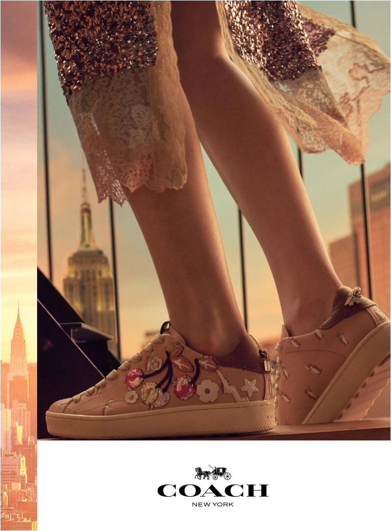 Floral embroidered sneakers stand out in Coach's spring-summer 2018 campaign