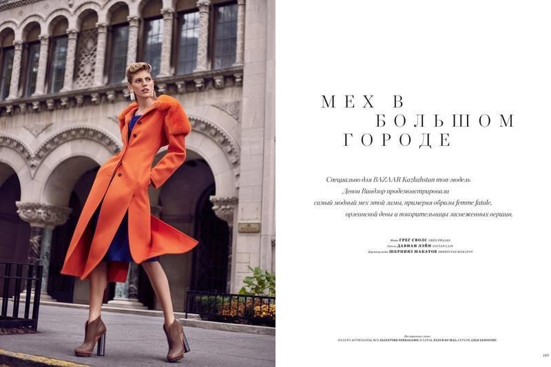 Devon Windsor Layers Up in Winter Coats for Harper's Bazaar Kazakhstan
