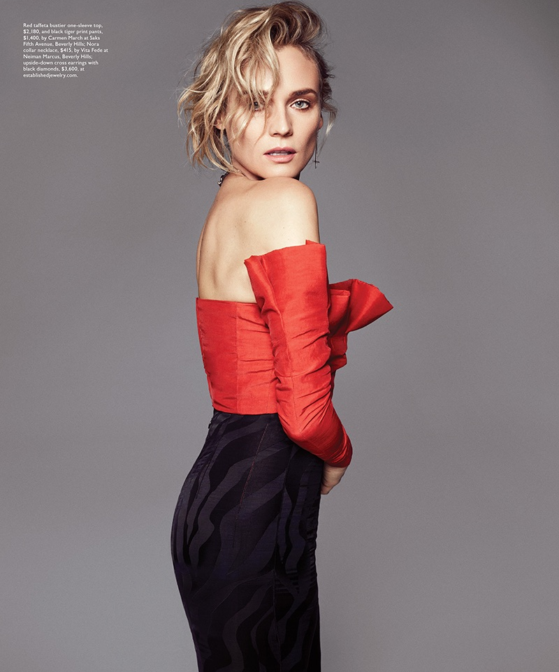 Actress Diane Kruger poses in Carmen March one-sleeve top and pants