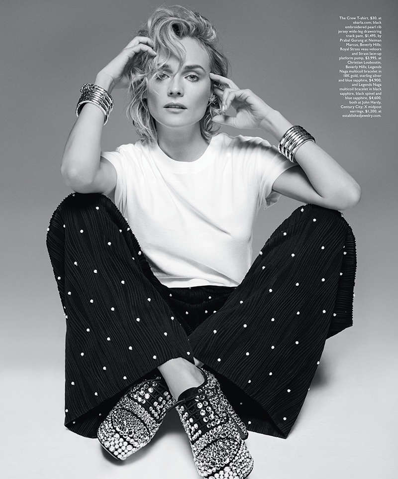 Captured in black and white, Diane Kruger wears X Karla t-shirt, Prabal Gurung pants and Christian Louboutin pumps