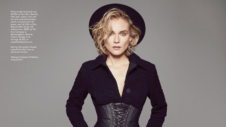 Diane Kruger Poses in Sleek Fashions for Modern Luxury Magazine