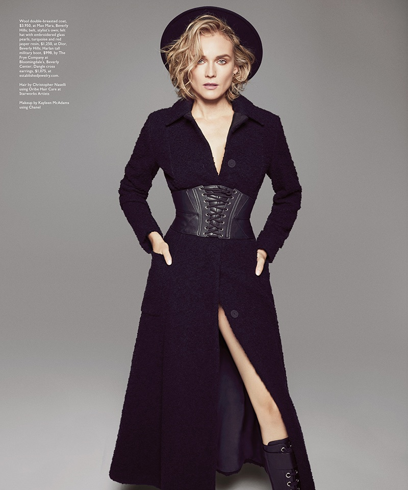 Striking a pose, Diane Kruger wears Max Mara wool coat and Dior hat with Frye Company boots