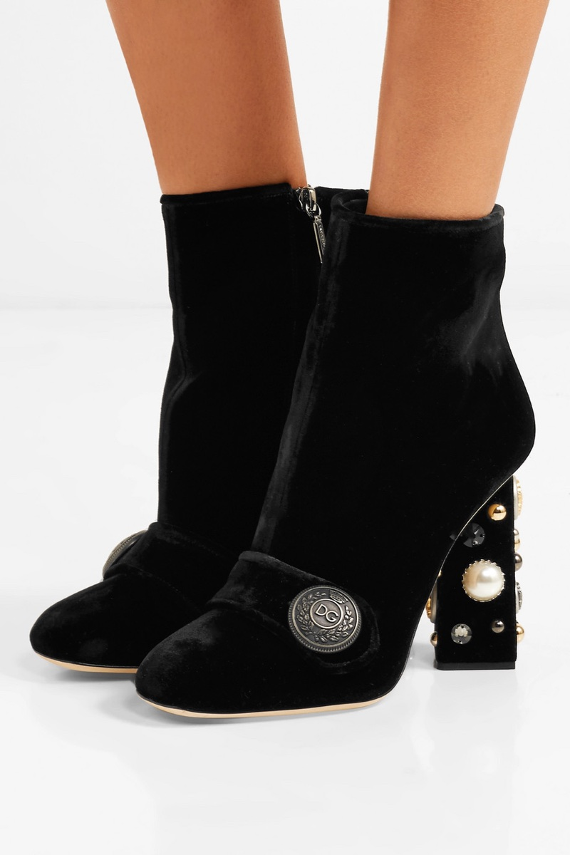Dolce & Gabbana Embellished Velvet Ankle Boots $777 (previously $1,295)