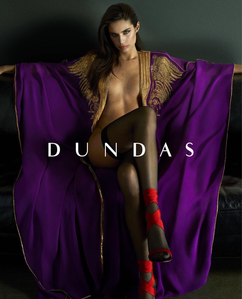 Posing topless, Sara Sampaio appears in Dundas' resort 2018 campaign