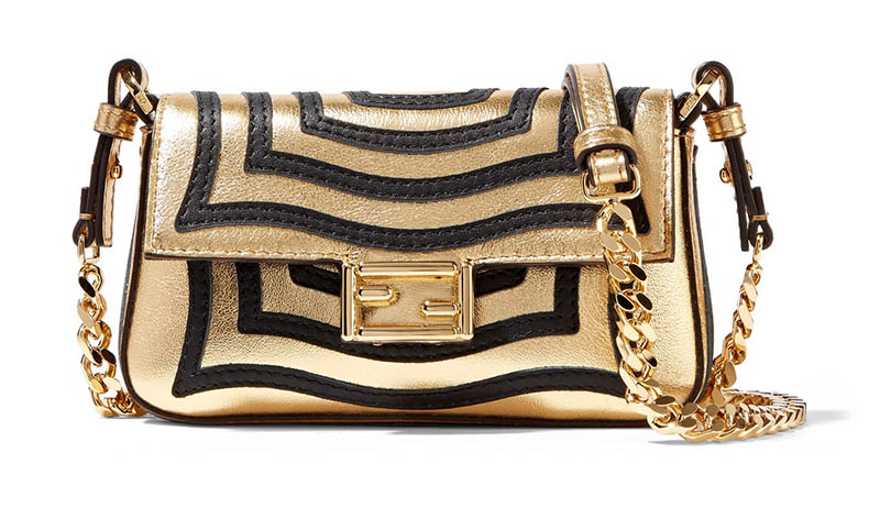 Fendi Baguette Micro Appliquéd Gold Leather Shoulder Bag $1,190 (previously $1,700)