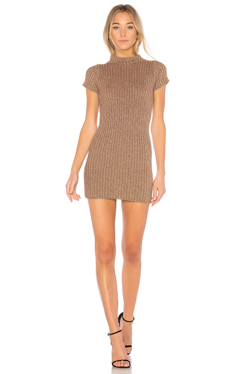 For Love & Lemons Sparkle Knit Metallic Dress $145