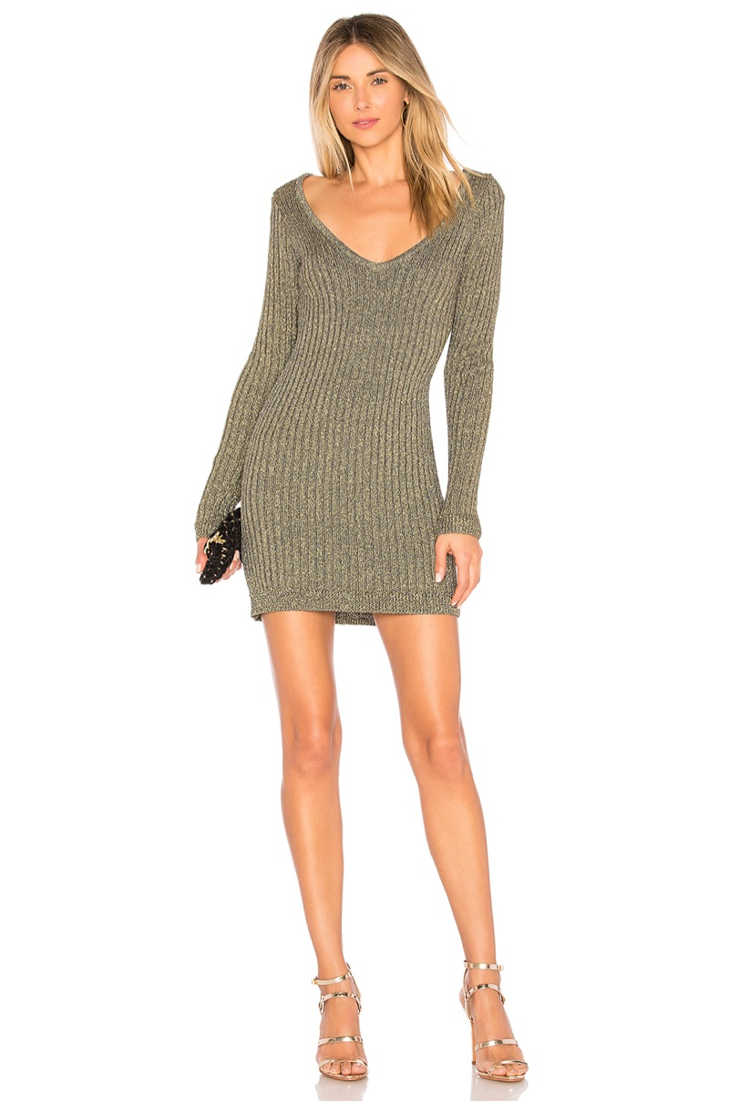 For Love & Lemons Sparkle Knit Metallic Long Sleeve Dress $165