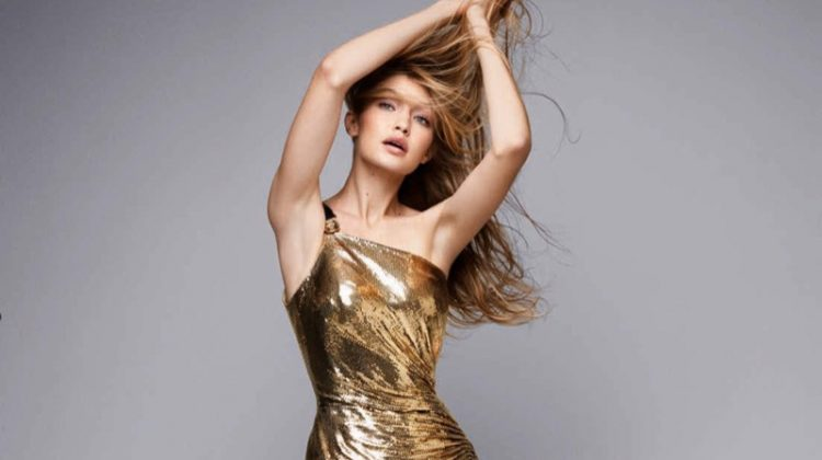 Gigi Hadid Looks Super Glam in Versace for Vogue Germany