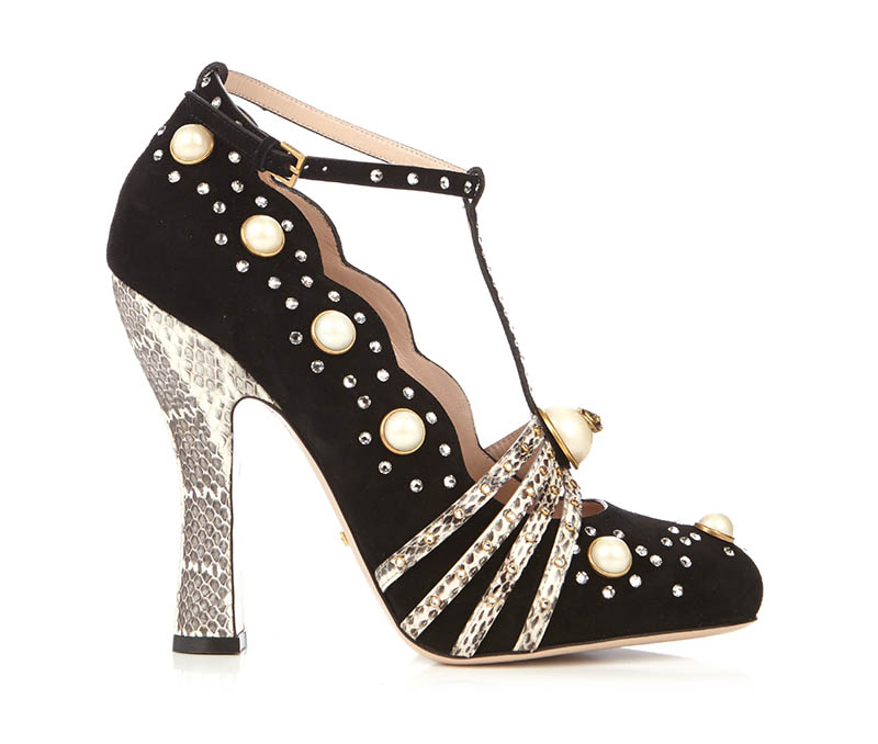 Gucci Ofelia Embellished Suede Snakeskin Pumps $925 (previously $1,850)