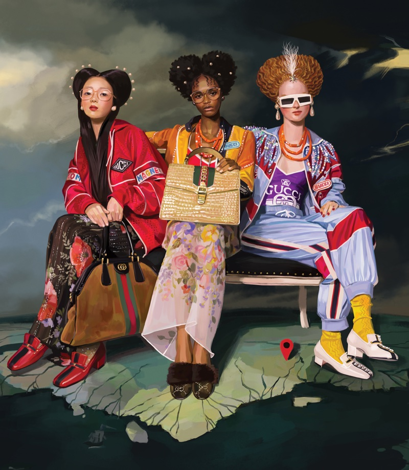Models pose in Gucci's illustrated spring-summer 2018 campaign