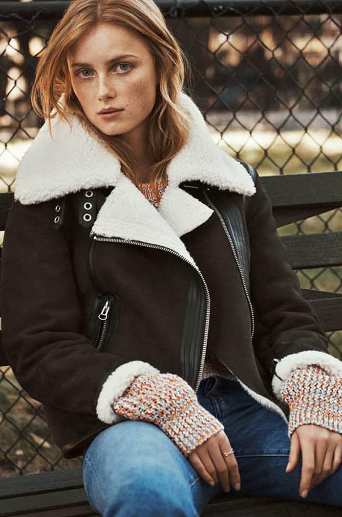 H&M Pile-Lined Biker Jacket and Vintage High Ankle Jeans