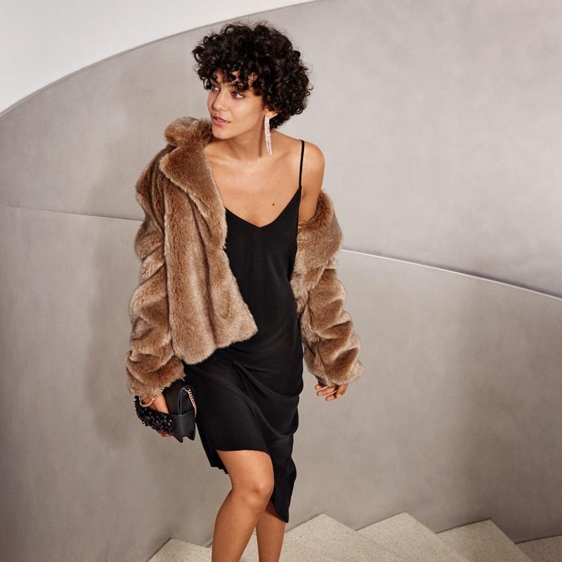 H&M Rhinestone Earrings, Faux Fur Jacket, Silk Dress, and Beaded Clutch