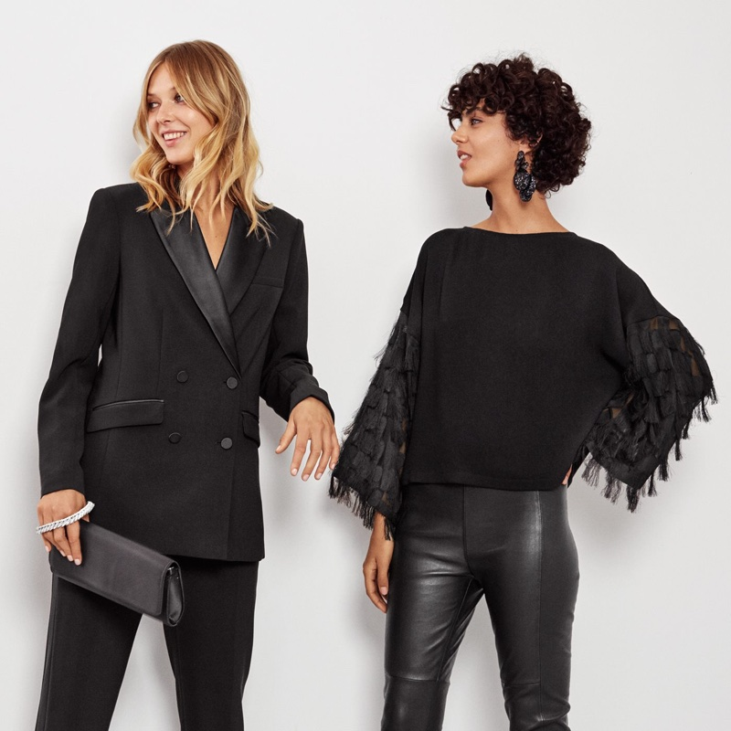 (Left) H&M Tuxedo Jacket and Satin Clutch Bag (Right) H&M Wide-Cut Top and Glittery Earrings