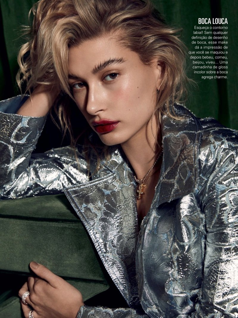 Hailey Baldwin & Maria Borges Model Shimmering Makeup Looks for Glamour Brazil