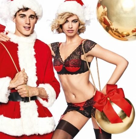 Hailey Clauson Brings Christmas Cheer to Yamamay Lingerie Campaign