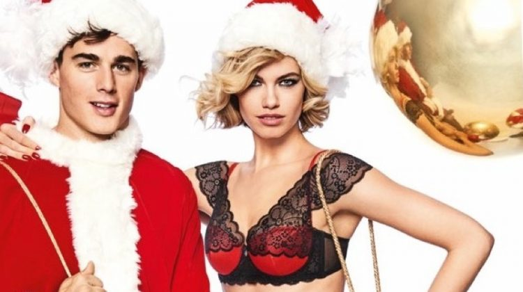 Pietro Boselli and Hailey Clauson get festive in Yamamay's Christmas 2017 campaign