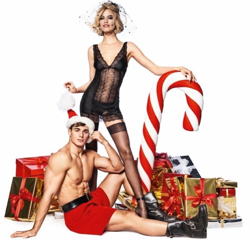 Hailey Clauson wears black lingerie in Yamamay's Christmas 2017 campaign