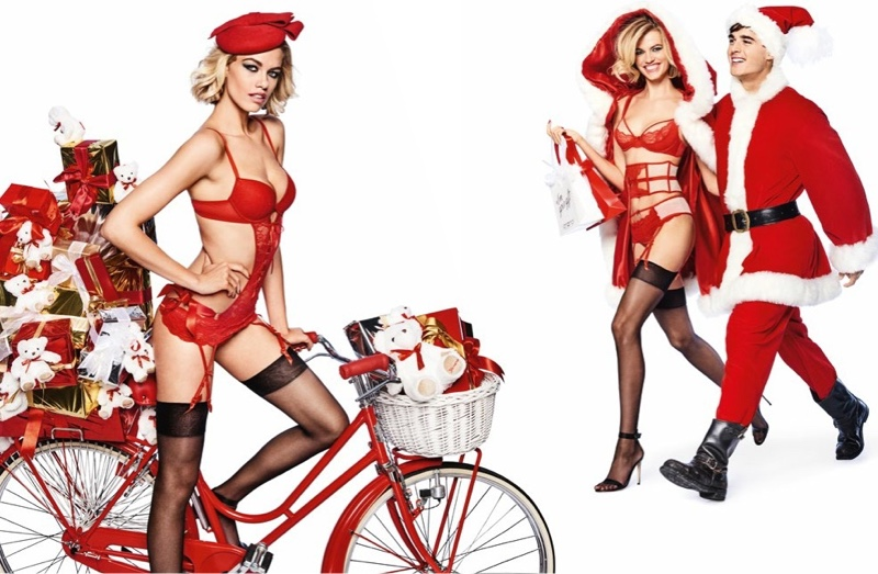 Hailey Clauson looks red-hot in Yamamay's Christmas 2017 campaign