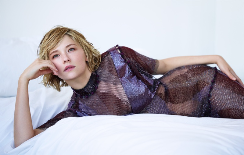 Lounging in bed, Haley Bennett wears Prabal Gurung dress