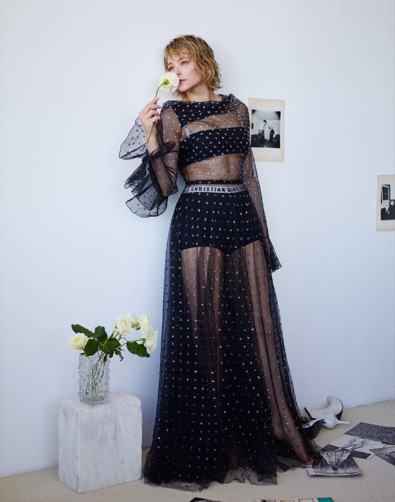 Dressed in black, Haley Bennett wears Dior look