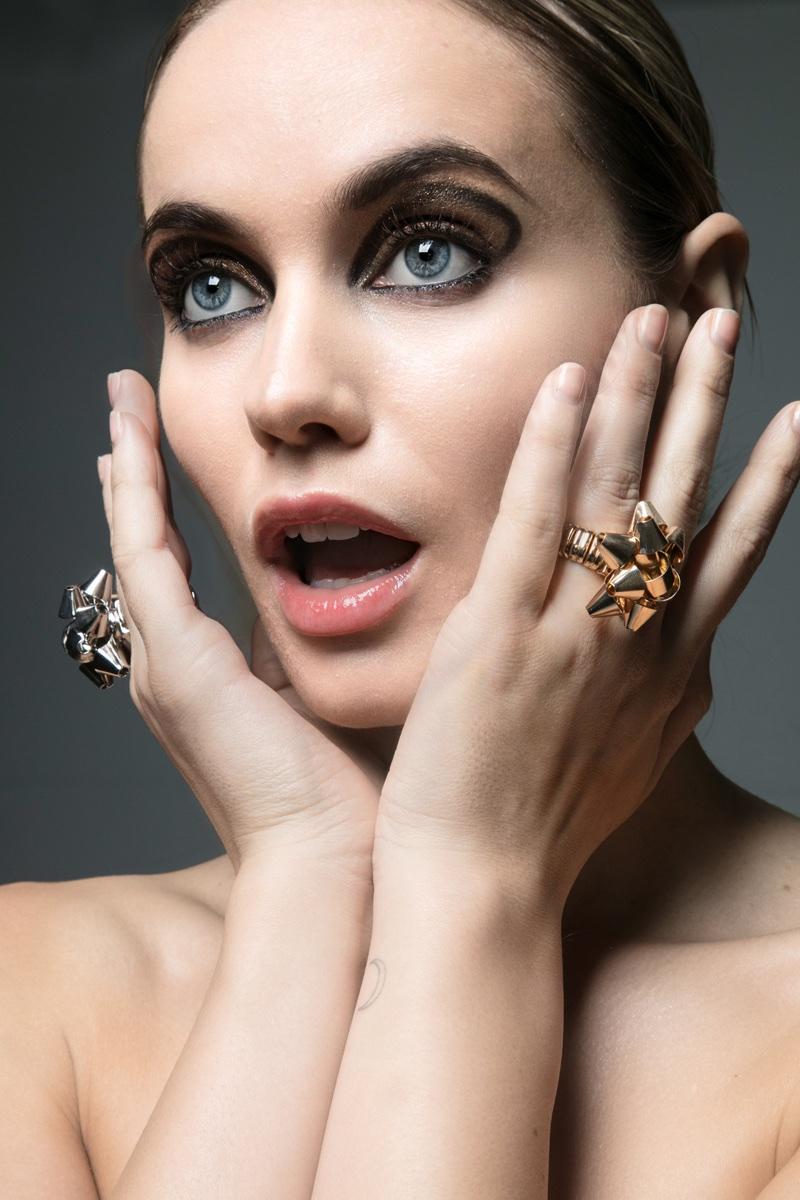 Juliet Miquelarena shows off glittering rings. Photo: Jeff Tse