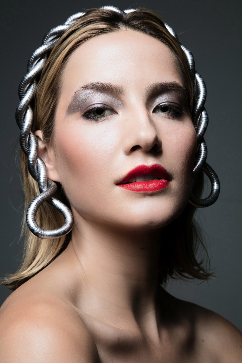 Alana Greszata wears a bold red lip. Photo: Jeff Tse