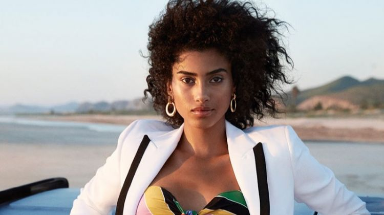 Imaan Hammam Poses in Tropical Looks for PORTER Magazine