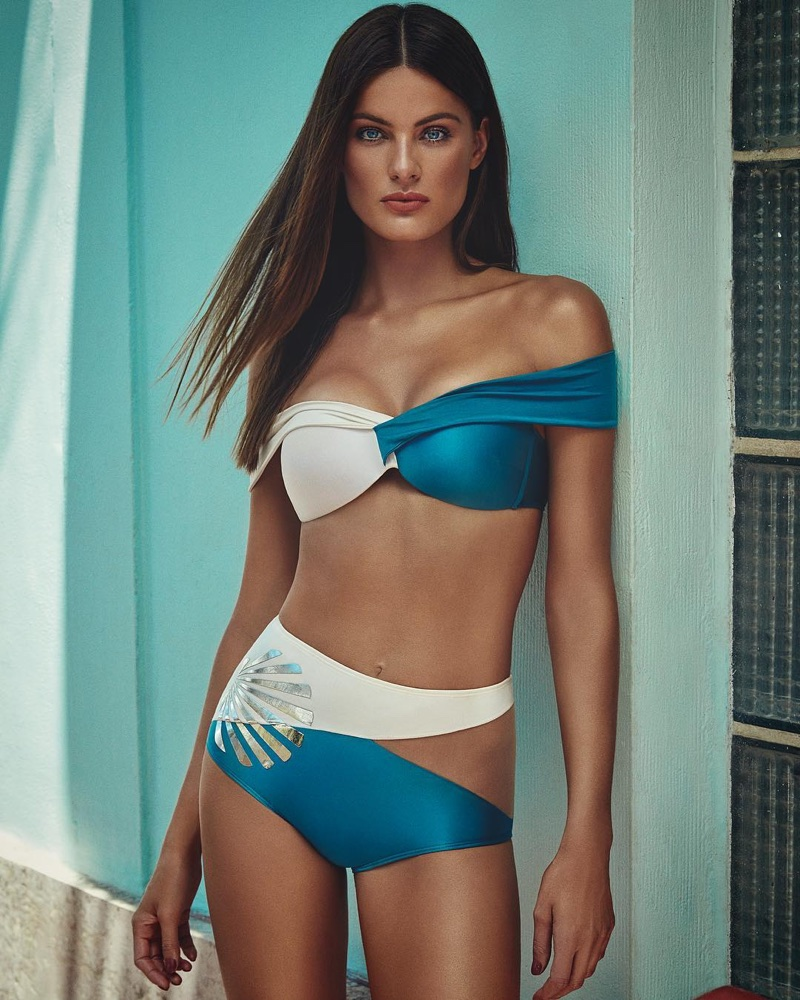 Isabeli Fontana poses in off-the-shoulder, bi-color bikini from Agua de Coco summer 2018 collection