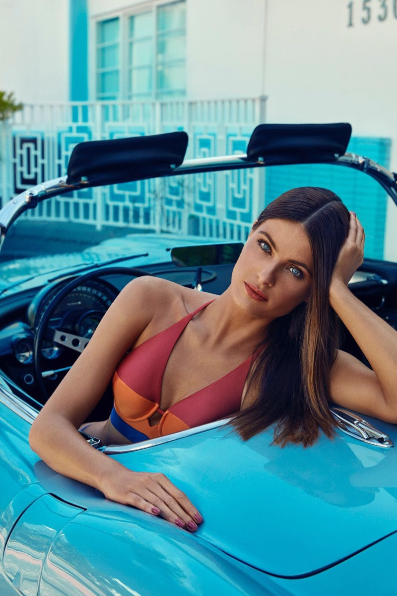 Isabeli Fontana poses in tri-color bikini from Agua de Coco swimwear