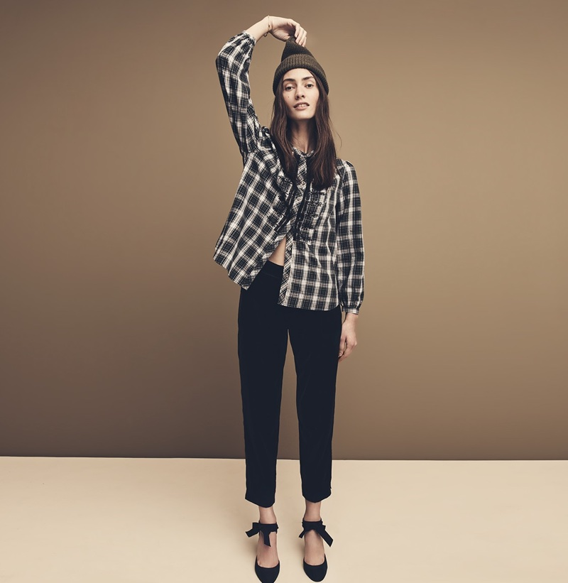 J. Crew Ribbed Beanie, Embellished Button-Up Shirt in Forest Tartan, Easy Pant in Velvet and Black Watch Pumps with Glitter Heel