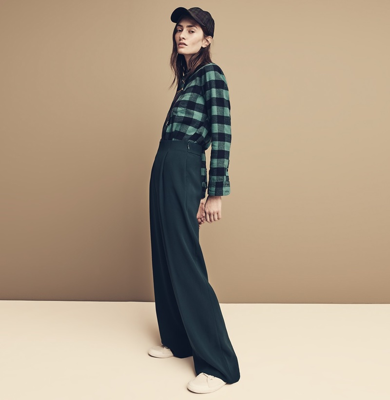 J. Crew Boy Shirt in Cozy Wool-Cotton Buffalo Check, Wool Tie in Green Tartan, Wide Leg Pleated Pant in Matte Crepe and Tretorn Canvas T56 Sneakers