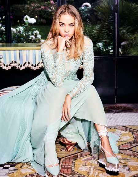 Jasmine Sanders Poses in Pretty Dresses for Vogue Arabia