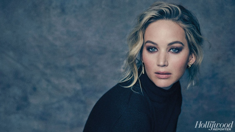 Jennifer Lawrence poses in turtleneck top