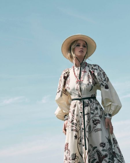 Jennifer Lawrence poses in Dior's resort 2018 collection